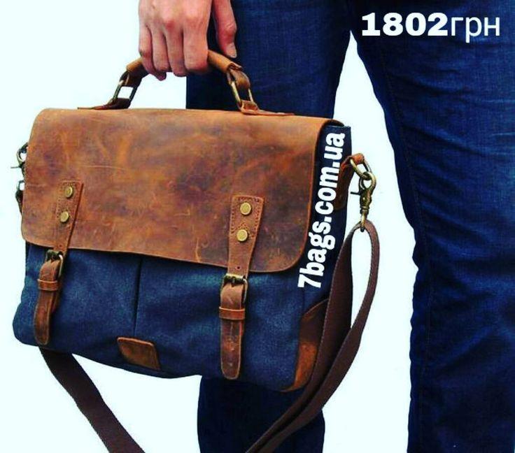 Мужская сумка портфель от John McDee 9013 за 1802грн в магазине Семь Сумок.  Идеальное сочетание кожи и ткани.  #7bagscomua #7bags #семьсумок