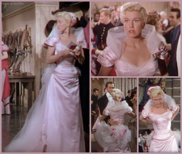 I just love Doris Day in this gorgeous pink dress in Calamity Jane.   Bill's reaction when he first sees her is priceless!