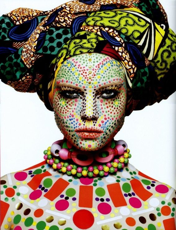 World Mix:  Gele and traditional Kosovar bridal makeup.   Rankin Testshooting Dasha Zharova