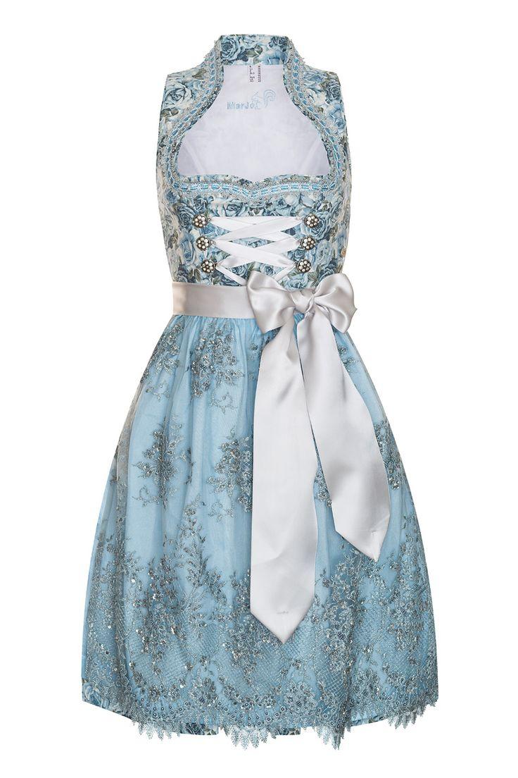 Mini Dirndl 60er hellblau mit Blumenmuster-silber Ida