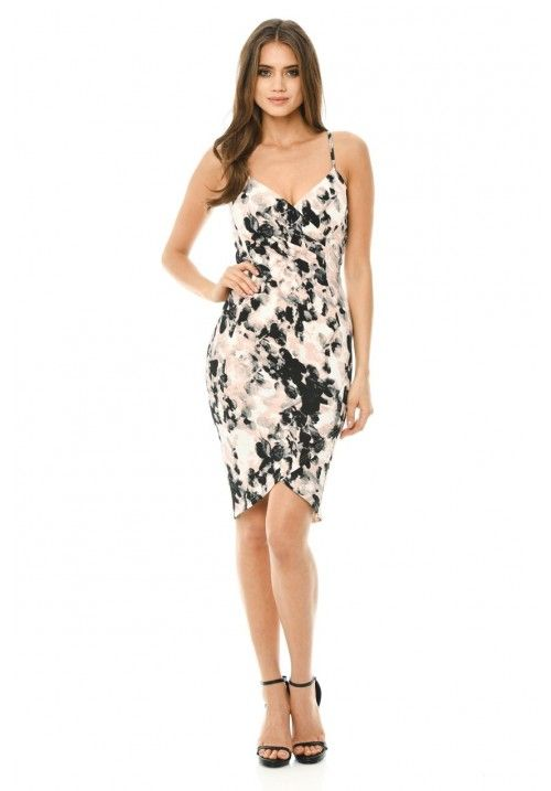 Smudge Printed Bodycon Dress With Wrap Front