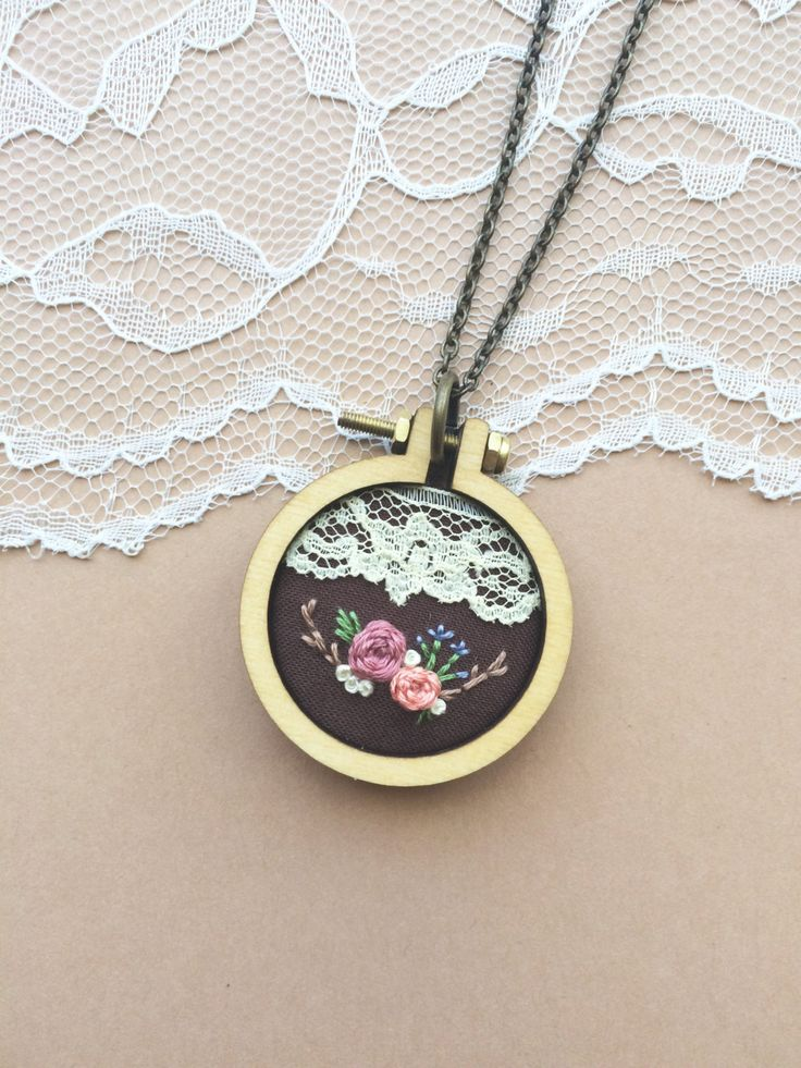 Hand Embroidered Mini Embroidery Hoop Necklace Featuring Vintage Lace: Dark Brown, Chocolate by PlaidLoveThreads on Etsy
