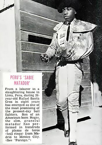 Promising Black Matador Rafael Santa Cruz - Jet Magazine, August 27, 1953 by vieilles_annonces, via Flickr