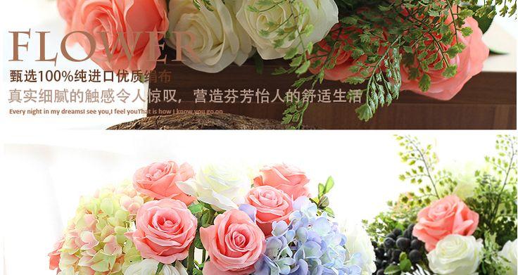Моника Высокая моделирования цветок букет из роз одного шелк цветок украшения цветок искусственные цветы цветочные гостиной спальня обеденный стол -tmall.com Lynx