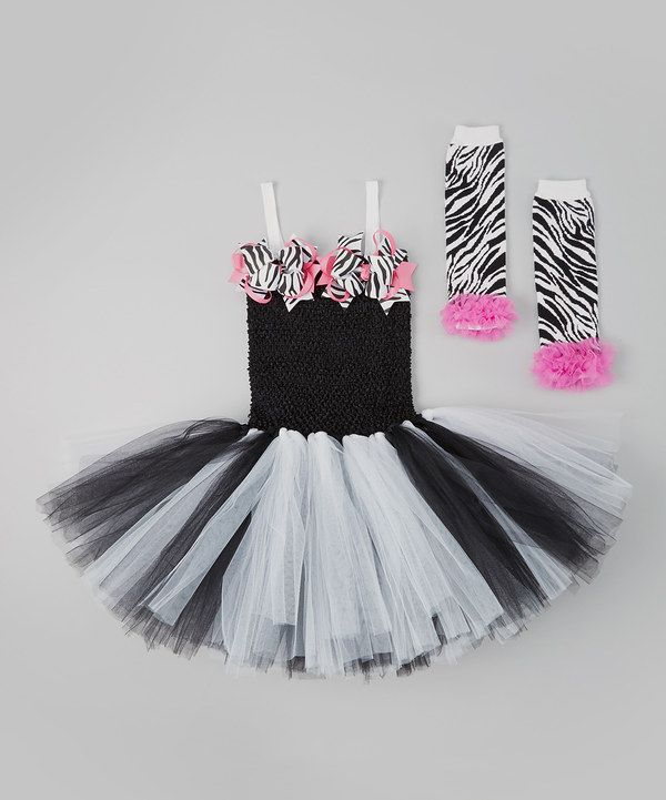 Take a look at this Black & White Zebra Tutu Dress Set - Girls on zulily today!