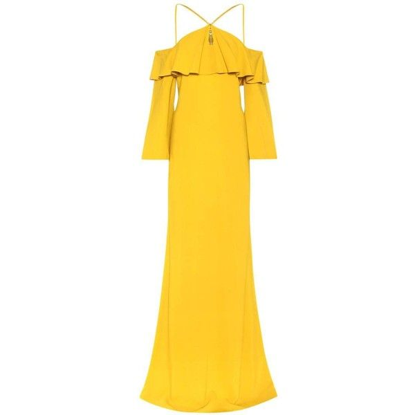 Roberto Cavalli Off-the-Shoulder Crêpe Dress ($2,250) ❤ liked on Polyvore featuring dresses, cocktail/gowns, gold, off shoulder evening dress, yellow cocktail dress, holiday dresses, off the shoulder evening dresses and off shoulder cocktail dress