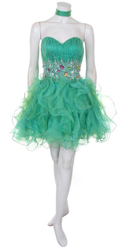 Organza Short Skirt Pleated Bodice Jade Prom Dress