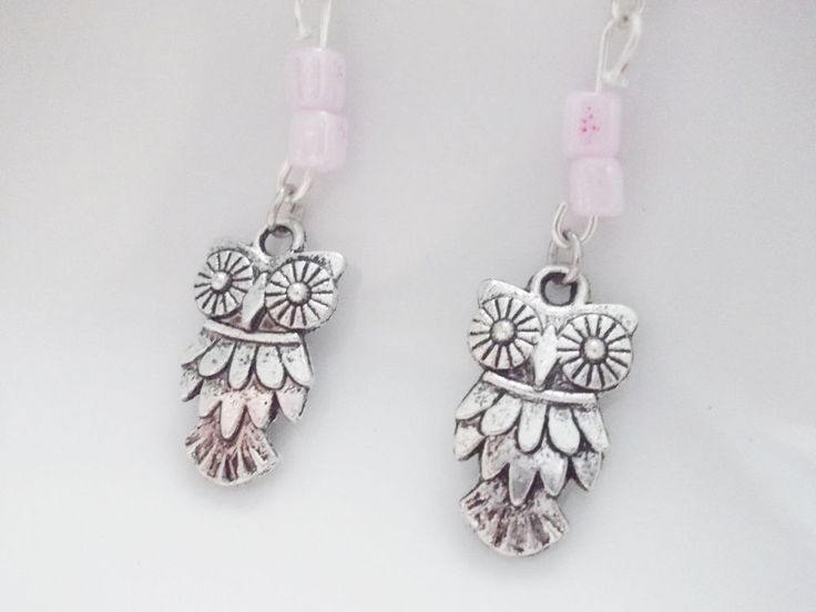 earrings with owls and romantic pink beads