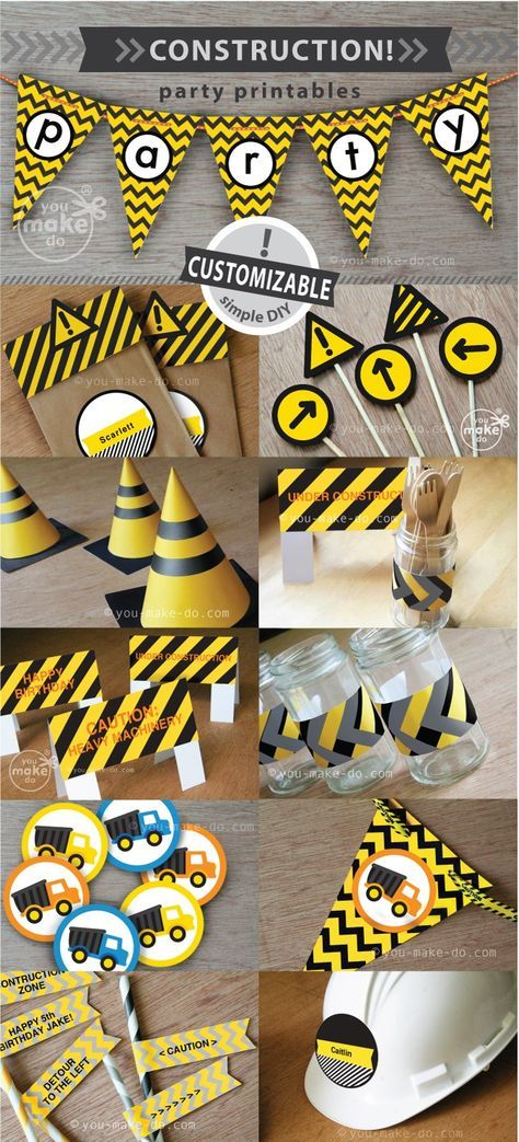 INSTANT DOWNLOAD construction party printables—Customizable party printables to make your own construction party theme for birthday parties and baby showers! This party printable kit is filled with so many printables to make! Some of the printables in this set are even CUSTOMIZABLE—add special messages, children's names, or other words to your customizable party printables yourself! Simply click and type on your printables before printing at home or at your favorite copy shop! | you make do®…