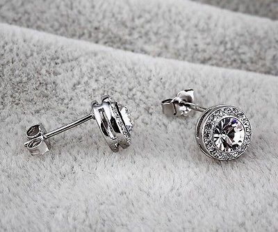 925 STERLING SILVER WITH SWAROVSKI ELEMENTS STUD EARRING with free silk pouch in Jewellery & Watches, Fashion Jewellery, Earrings   eBay