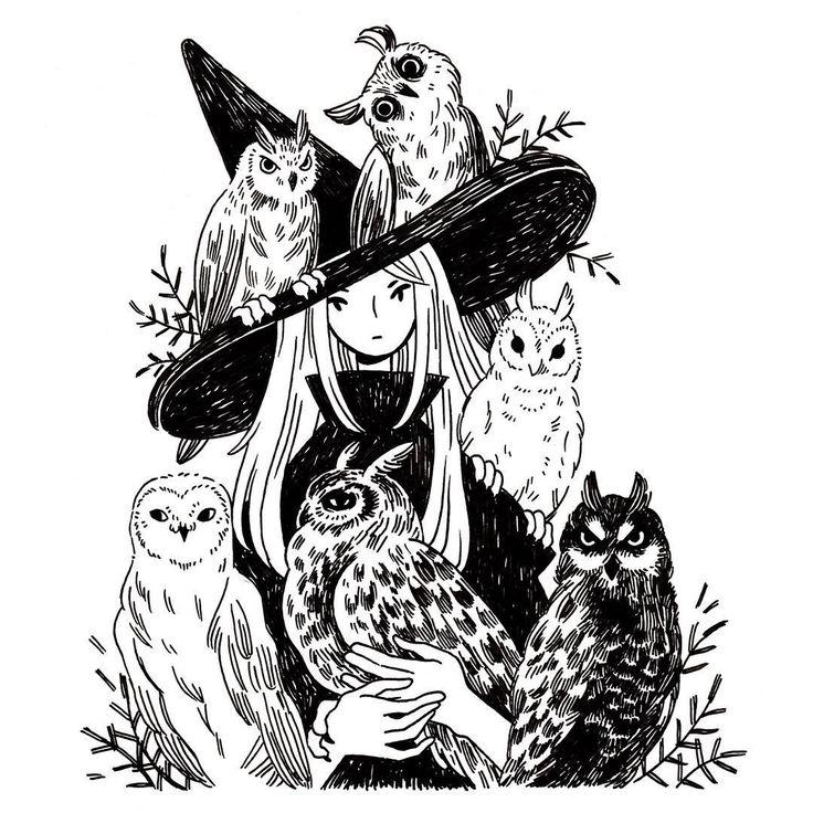 Heikala (@heikala) on Instagram: A witch and six owl familiars