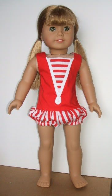 American Girl #38 As Skipper.  The romper is a reproduction of a Mattel's Skipper doll outfit.  I drafted the pattern for this one.