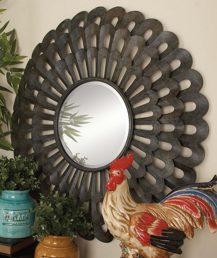 """""""""""Classy finished metal wall round mirror: Classy finished metal wall round mirror, dark black"""