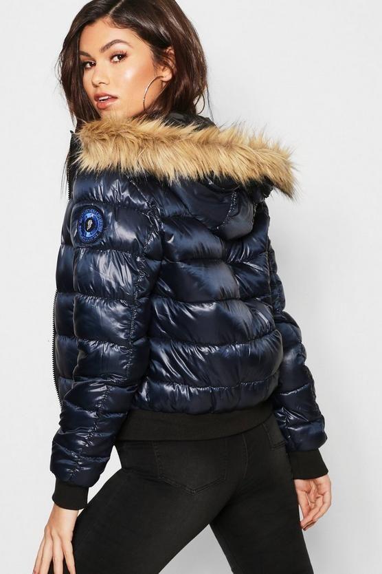 71fbe1df8dcf Faux Fur Hood Bubble Coat in 2019 | shiny down coat | Faux fur, Coat ...