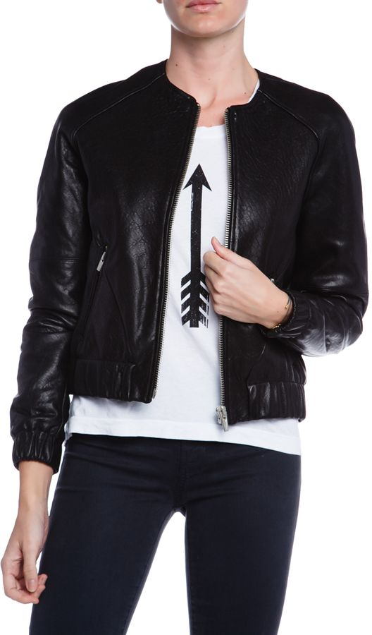 $895, Veda Street Leather Bomber Jacket. Sold by MADISONLOSANGELES.COM. Click for more info: https://lookastic.com/women/shop_items/183787/redirect
