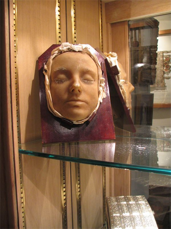 The death mask of Mary Queen of Scots. She was condemned by her cousin Elizabeth for treason and beheaded in 1587 at the age of forty-four. The mask has been kept by the family since then. Lennoxlove Castle, the home of the Duke of Hamilton.