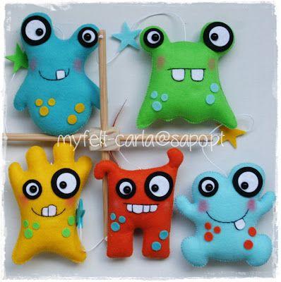 Cute felt monsters!                                                                                                                                                      More