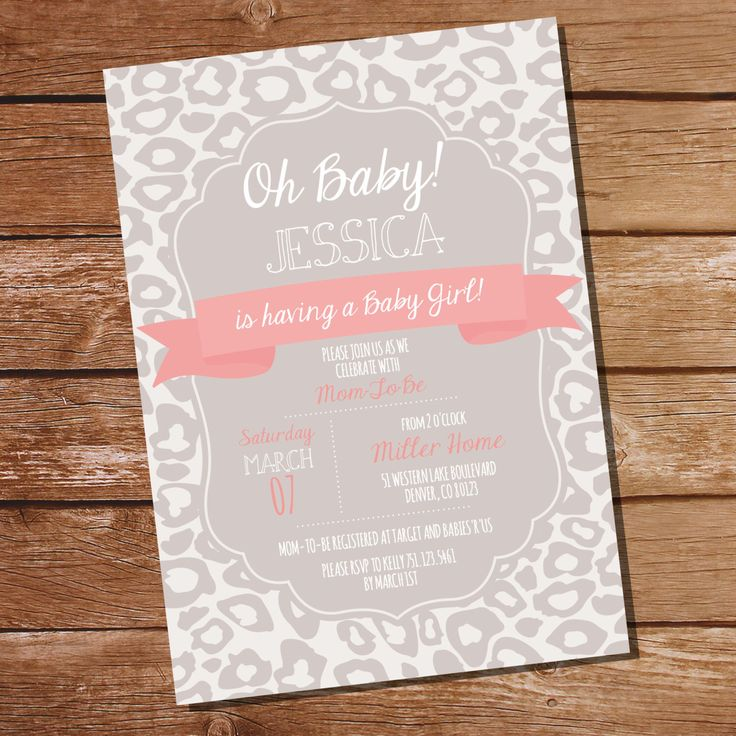 Coral and Taupe Leopard Baby Shower Invitation - Girl Baby Shower Invitation - Leopard - Instant Download & Edit File - Print at Home! by SunshineParties on Etsy https://www.etsy.com/listing/220505273/coral-and-taupe-leopard-baby-shower