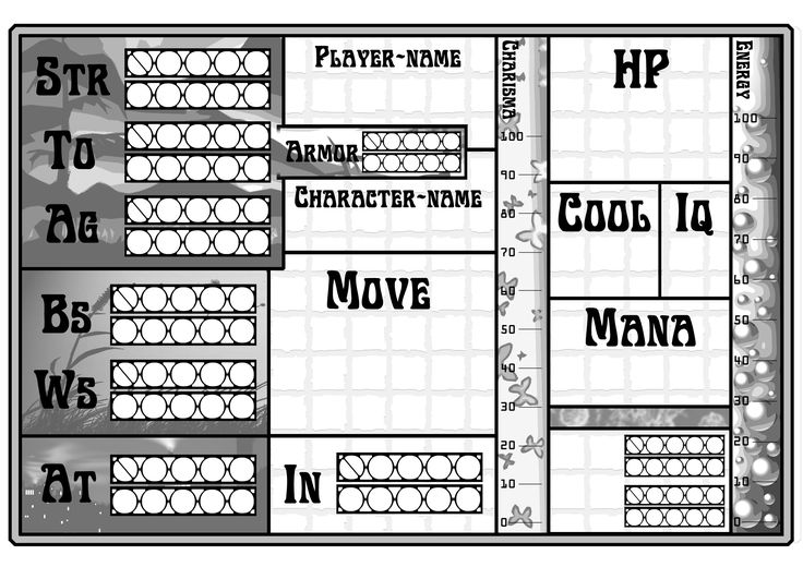Character--sheet with a mix of hardcore RPG-rules and easy-to-understand rules for children. Almost all dice-rolls in the game is made with a D20 to simplify and give the possibility for more players to join. 16 players max, but 3-5 was the most fun :-)