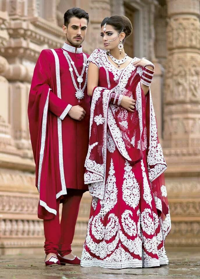 South Asian bride. red wedding lehenga