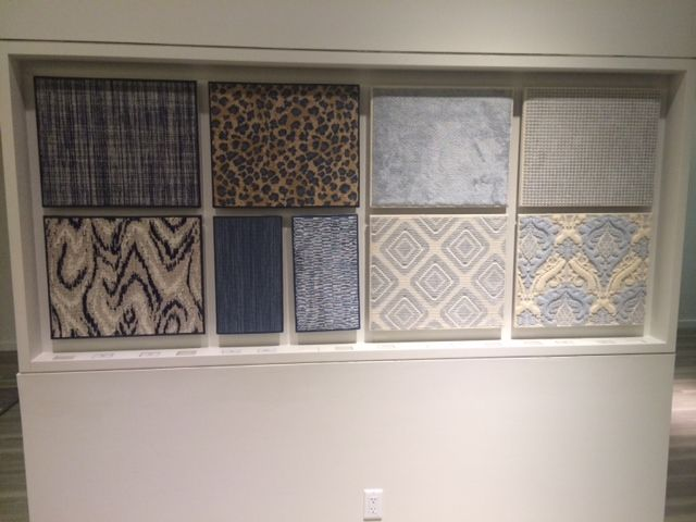 Bellbridge Carpets in different hues of blue,as featured in Elte showroom (Canada)