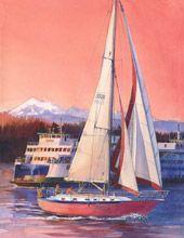 Red Sail Boat by Jennifer Bowman