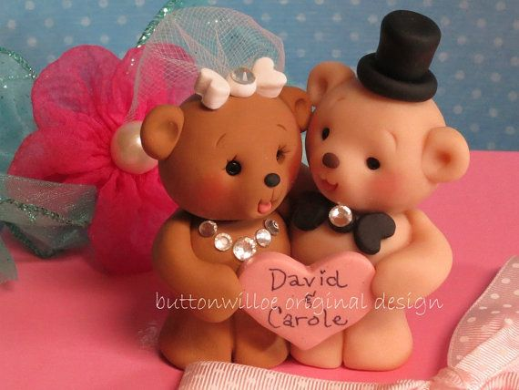 *POLYMER CLAY ~ Hugging Personalized Teddy Bears Wedding Cake Topper or Centerpiece Keepsake Bridal Shower Cake Topper or Anniversary