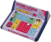 50-in-1 Electronics Playground Price: $59.95 Madabout science Easily build over 50 electronic circuits, without the use of tools or soldering. Learn about voltage, current, resistance, resistors, capacitors and more... all the while having a 'shocking' good time!  Use safe and quick spring hook-ups to build an alarm, radio, finger touch lamp, metal detector and more!