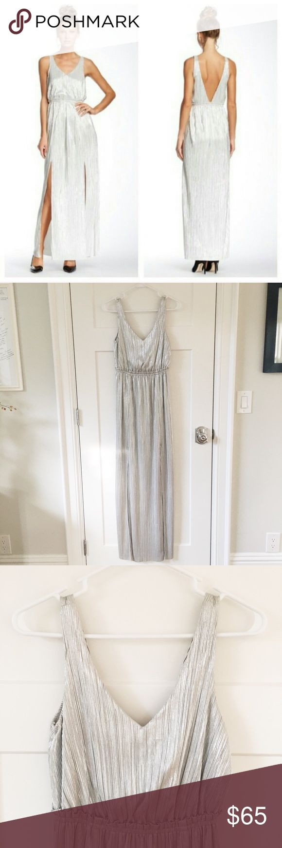BCBGeneration Metallic Evening Dress, XS BCBGeneration metallic evening dress in silver. Size extra small. Brand-new with tags. Gorgeous dress with a V front and a deep V back. Very comfortable, no zippers. BCBGeneration Dresses Maxi