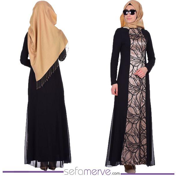 Dantelli Pullu Şifon Abiye Elbise 7012-03 Siyah  #sefamerve #tesetturgiyim #tesettur #hijab #tesettür