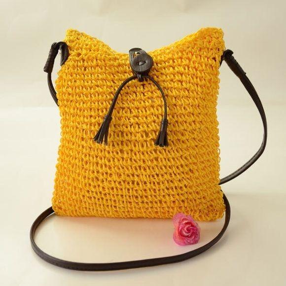 Bohemia Fashion Straw casual shoulder bag Bohemia Fashion Straw handbag, casual shoulder bag, Crossbody bag or Beach bag dark yellow. Bags Shoulder Bags