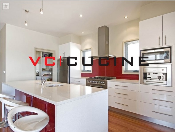 Modern style I shape PVC white kitchen with dining table