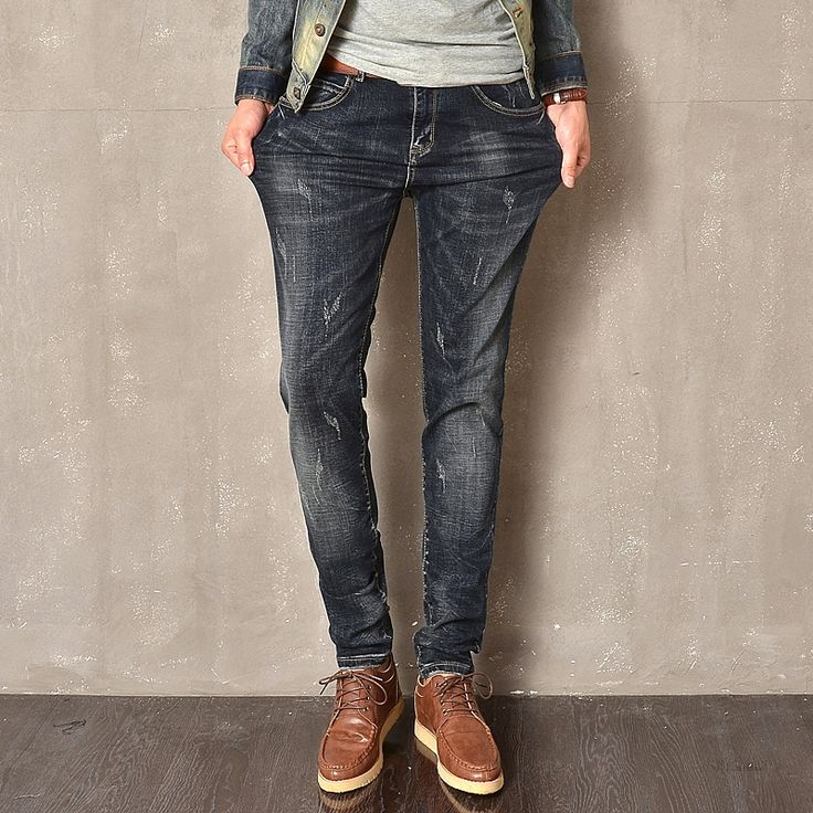 22.85$  Buy here - http://ali5up.shopchina.info/go.php?t=32661070211 - 2017 Real Stripe Scratched Casual Jeans Homme New Solid Denim Pencil Pants Men's Feet Stretch Male Slim Fit Elastic Jeans  #buyonlinewebsite