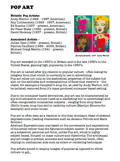 Pop Art. Fact Sheet. Blue Sparrows Art Club
