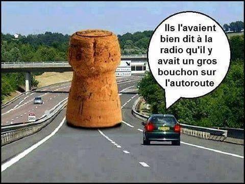 Attention, bouchon sur l'autoroute.