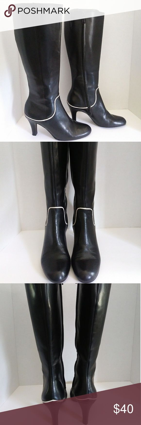 Antonio Melani black tall boots Nice soft leather tall boots with zip sides, white leather design decor in good clean condition ANTONIO MELANI Shoes Heeled Boots