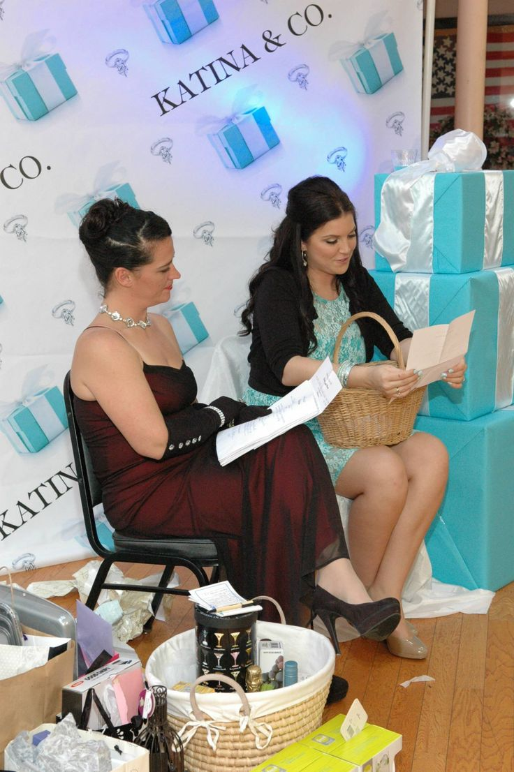 My sisters Tiffany  co. Theme bridal shower breakfast... Backdrop made on Sign11.com, boxes at Home Depot, Aqua wrapping paper  white ribbon at ACMoore craft store