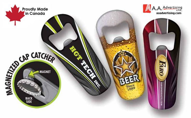 The handy magnet on this bottle opener ensures that your bottle cap does not fall on the floor. Customize with full color graphics.