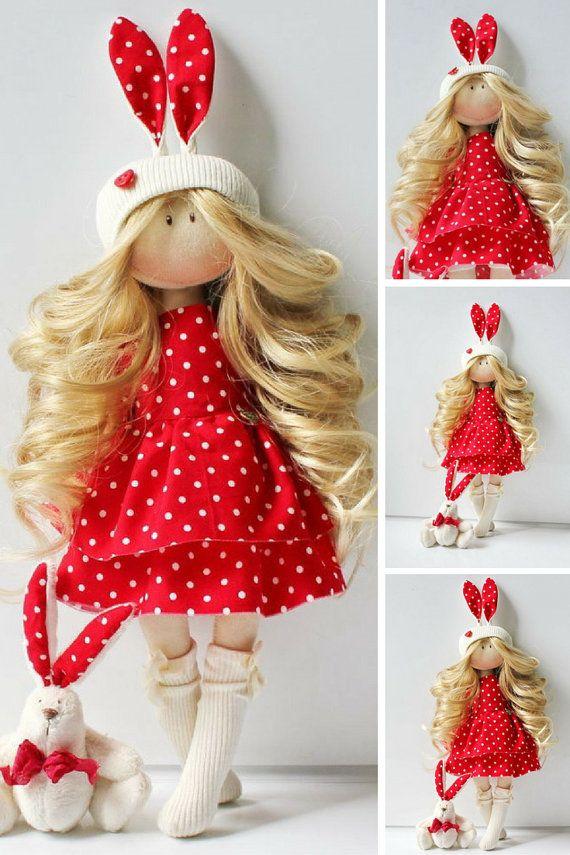 Bunny doll Fabric doll Textile doll Rag doll by AnnKirillartPlace