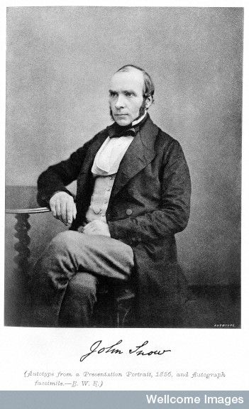 John Snow, 1856. The father of epidemiology. Dr Snow correctly interpreted his mapping of cholera fatalities to identify the Broad Street pump in central London as the source of the outbreak.