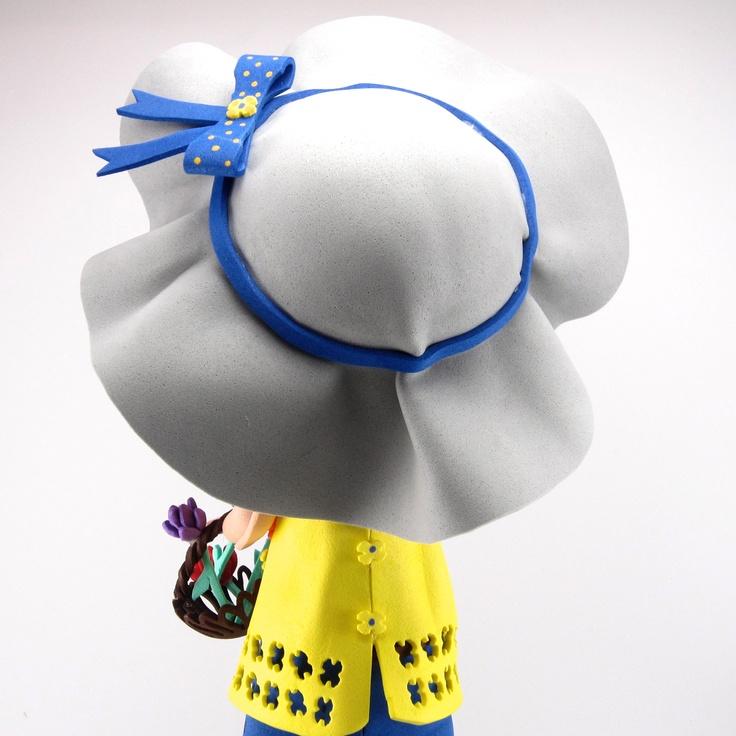 Fofucha Lizy sombrero con cinta decorativa y cierre trasero del vestido