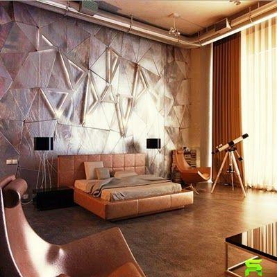Contemporary Bedroom Wall Mural Stencil Design Ideas