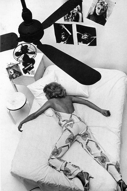 Helmut Newton, British Vogue, July 1965: Jill Kennington in fashion by Foale & Tuffin