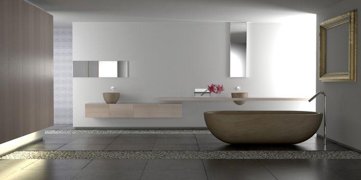 Large minimalist custom bathroom with stand-alone claw tub and dark flooring