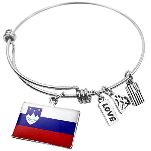 Expandable Wire Bangle Bracelet Slovenia Flag, Neonblond