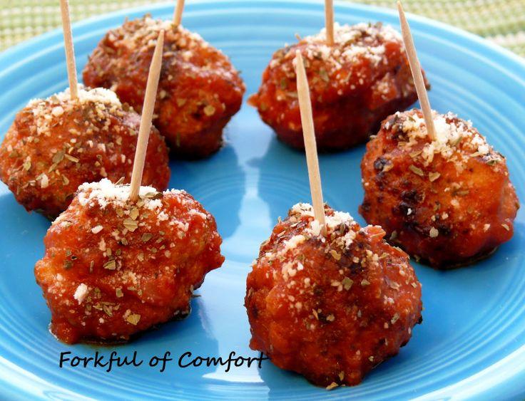 Forkful of Comfort: Chicken Parm MeatballsChicken Parmesan Meatballs, Forks, Fun Twists, Parm Meatballsperfect, Chicken Parm Meatballs, Cocktails Chicken, Comforters Food, Parties Food, Parmesan Meatballsi