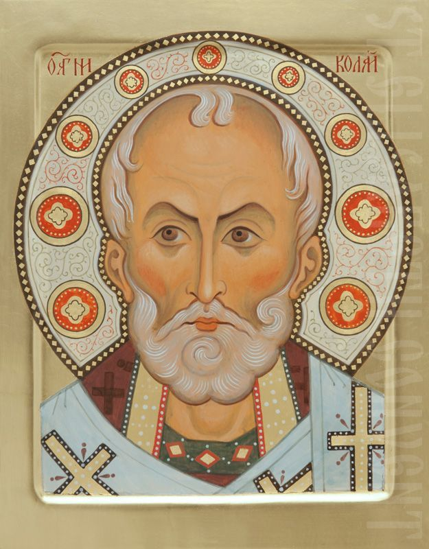 icon of st nicholas the wonderworker with hand-painted ornaments