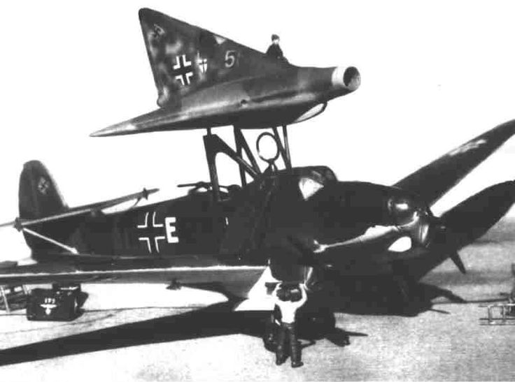 (Is it a real picture or a fake with scale model?) Around Christmas 1944, a full-scale piloted prototype of Lippisch P-12, known as the DM 1 (DM - Darmstadt München Entwurf 1), was under construction at Prien on Lake Chiemsee in Bavaria. For actual flight testing, the DM 1 was to be mounted on top of a Siebel 204A carrier aircraft. http://test.fiddlersgreen.net/models/aircraft/Lippisch-P13a.html
