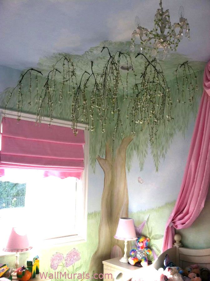 Willow Tree Wall Mural | Tree Wall Murals by Colette - Tree Paintings on Walls