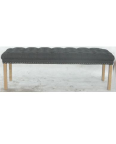 Dorset Ottoman in Charcoal or Natural Linen - Allissias Attic & Vintage French Style